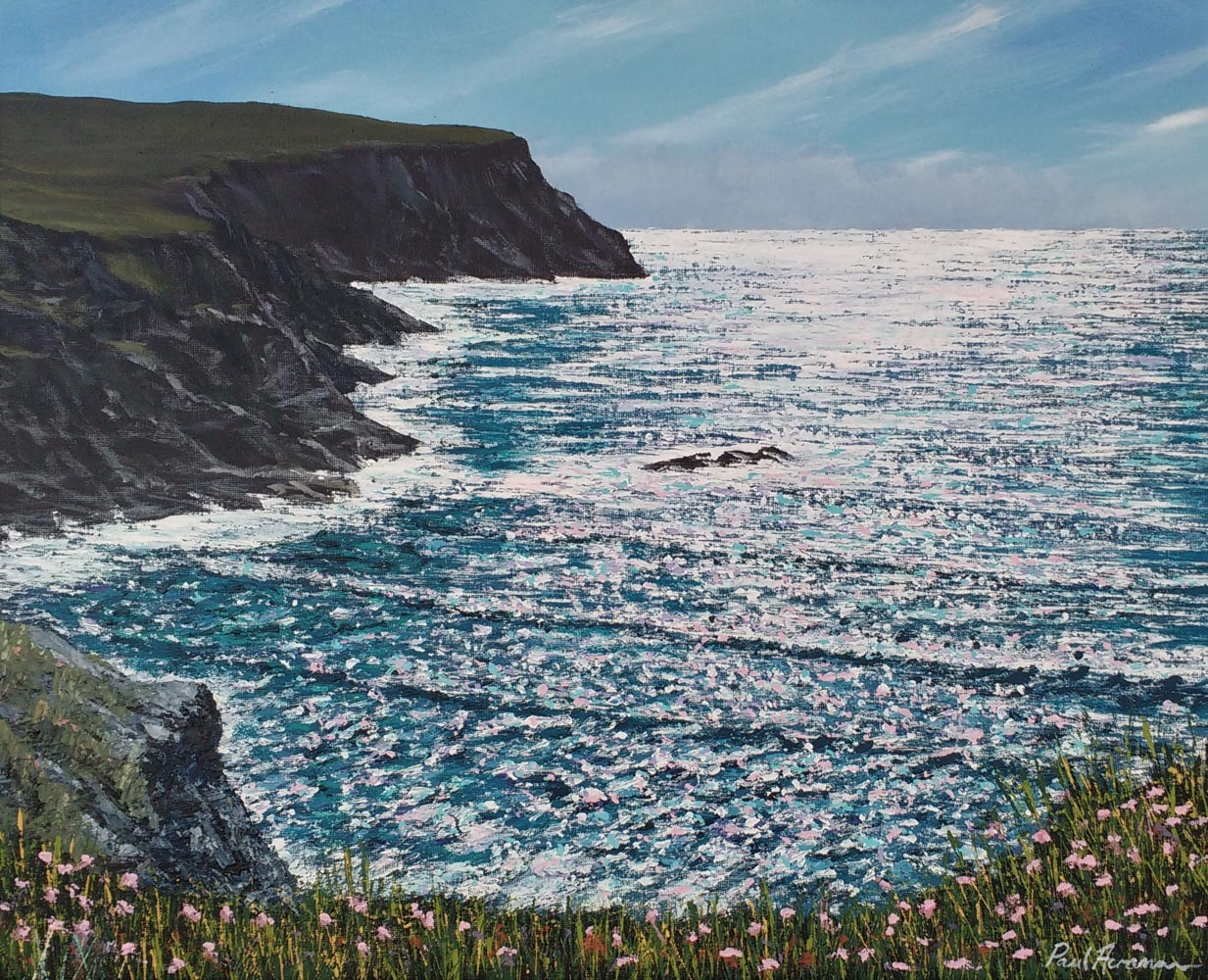 Paul Acraman-seascape-painting-Cornwall-Porthcothan cliffs