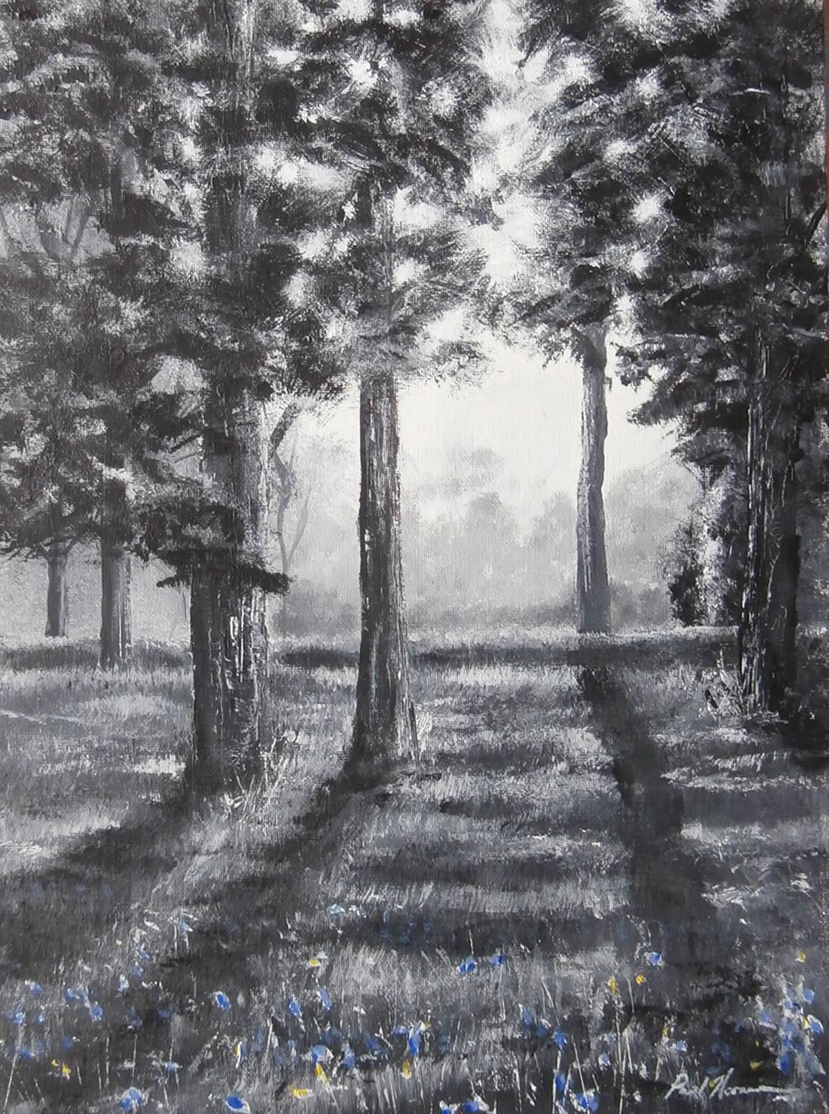 Paul Acraman landscape painting Devon Spring Woodland Light