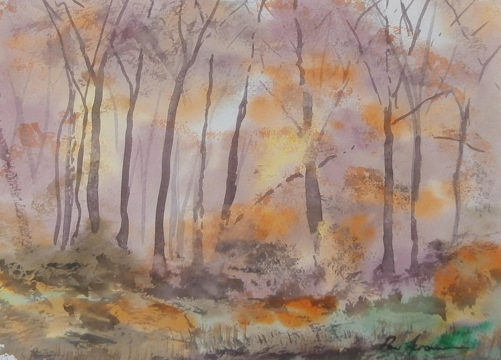 Paul Acraman Landscape Painting Trees Devon Autumn Woodland Light